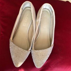 Aldo tan and sparkly shoes